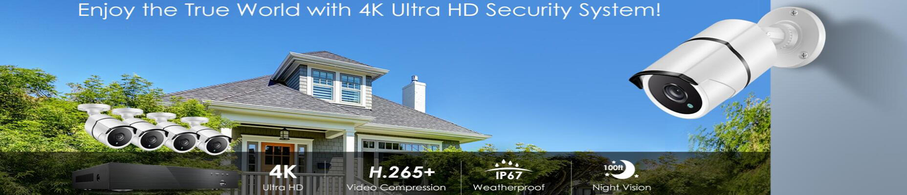 Ansjer True 4K Ultra HD H.265+ Security DVR System with 8MP 100ft Infrared Night Vision Security Camera-Ansjer cctv