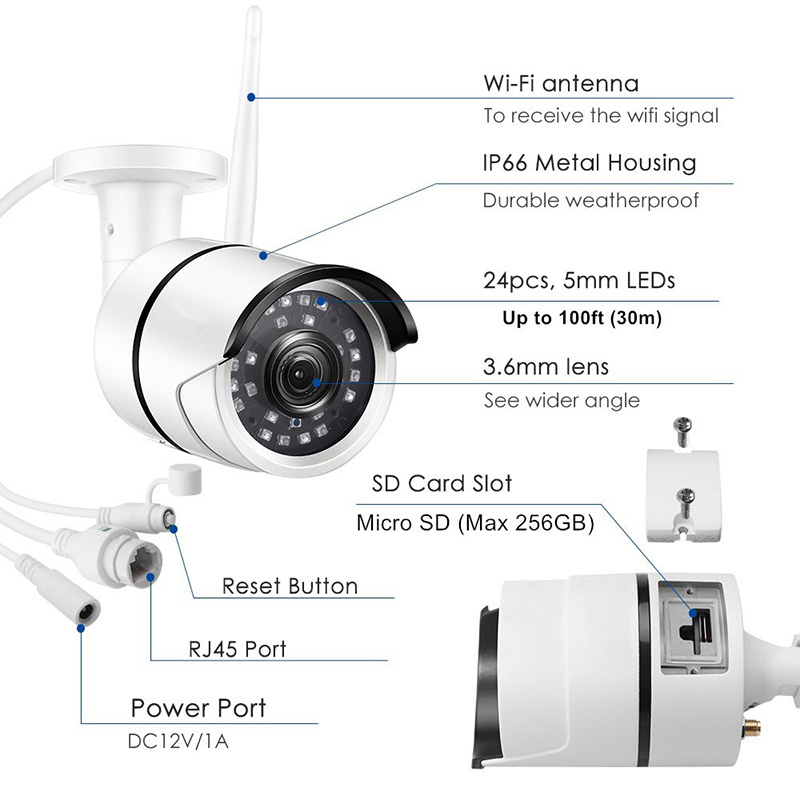 Ansjer-Ansjer C199 1080P HD Wireless Security Camera Outdoor 100ft Night Vision WiFi IP Surveillance-2