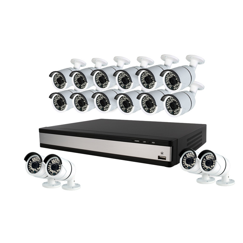 Ansjer 1080P HD H.264 Home Security Camera System, 16 Channel DVR Recorder with 16 HD 2.0MP Outdoor/Indoor Surveillance Cameras IP66, 100FT IR Night Vision, Motion Email Alert