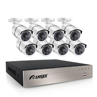 Ansjer 2K/5MP HD H.265+ 8 Channel POE NVR Security Camera System with 8 HD 5.0MP Outdoor Bullet Cameras, 100FT Night Vision, Internet & Smartphone Viewing, Motion Email Alert