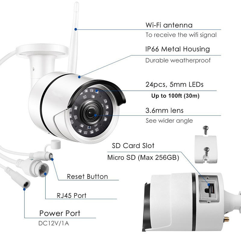Ansjer cctv electric ip camera wifi supplier for indoors or outdoors-3