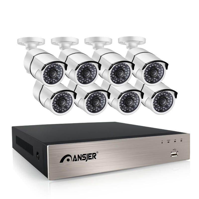 Ansjer-Ansjer 8CH 1080P H265 POE NVR Outdoor Security System 20MP Bullet Camera