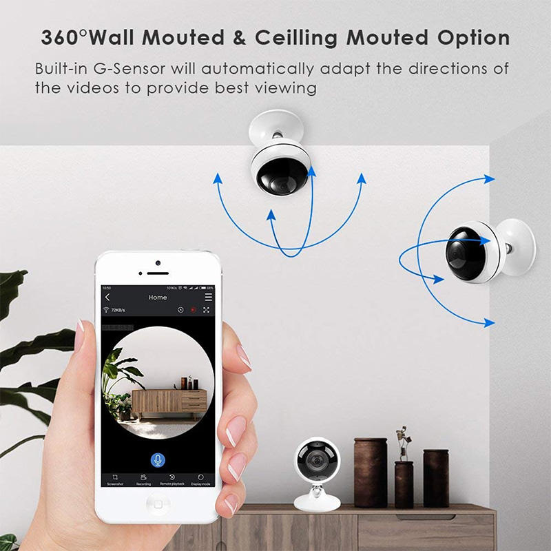 Ansjer-Ansjer 30MP Wireless WiFi Indoor VR Camera 360 Degree Panoramic IP Camera-2