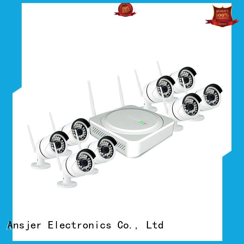 Ansjer cctv durable 8 camera wireless security system video for office