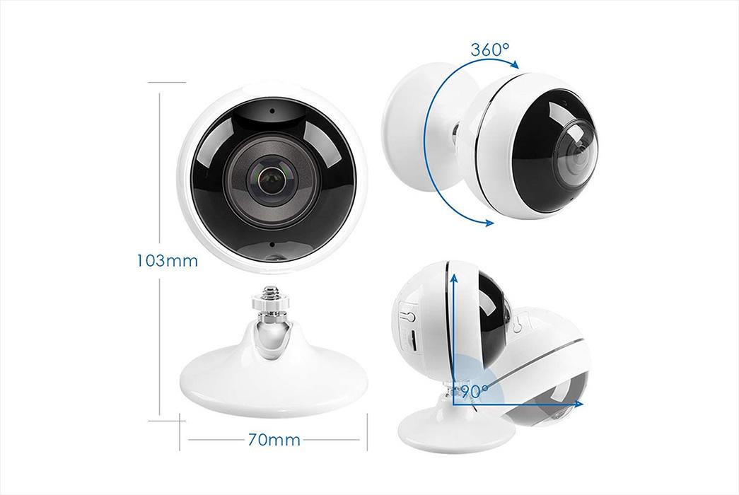 Ansjer-Ansjer 30MP Wireless WiFi Indoor VR Camera 360 Degree Panoramic IP Camera